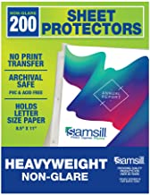 Samsill 200 Non-Glare Heavyweight Sheet Protectors, Reinforced 3 Hole Design Plastic Page Protectors, Archival Safe, Top L...