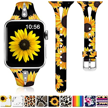 ZAROTO Compatible for Apple Watch Band 38mm, iwatch Bands 40mm Womens for Apple Watch SE, Series 6 5 4 3 2 1, Comfortable Cute Slim Soft Silicone Narrow Print Wristband S/M Black Sunflower