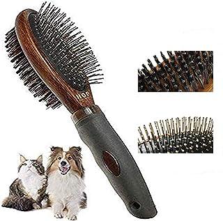 ペット用 ブラシ 犬用ブラシ ペットお手入れブラシ 両面 高級豚毛ブラシ 抜け毛とり 犬、猫長毛、短毛などに適用 (Brown)