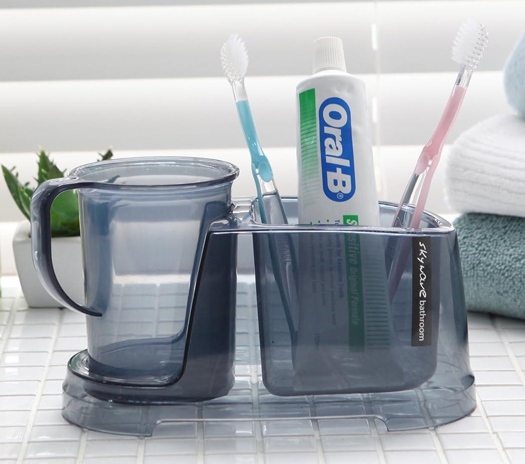 メディア報復するスーダンTenby Living歯ブラシホルダー+ Rinse Cup、クリアライトブルー