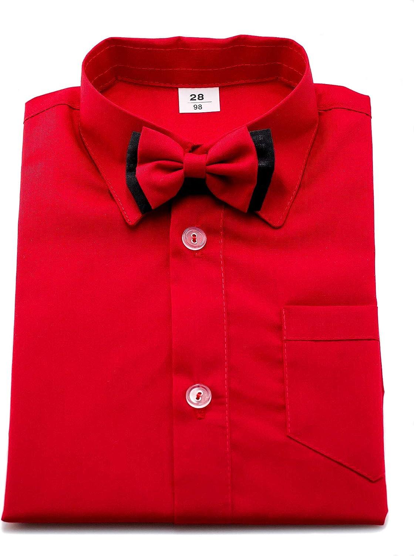 Camisa para niño, estilo formal, con pajarita, de manga larga, para bodas, bautizos, look elegante, fiestas, escuela, etc.
