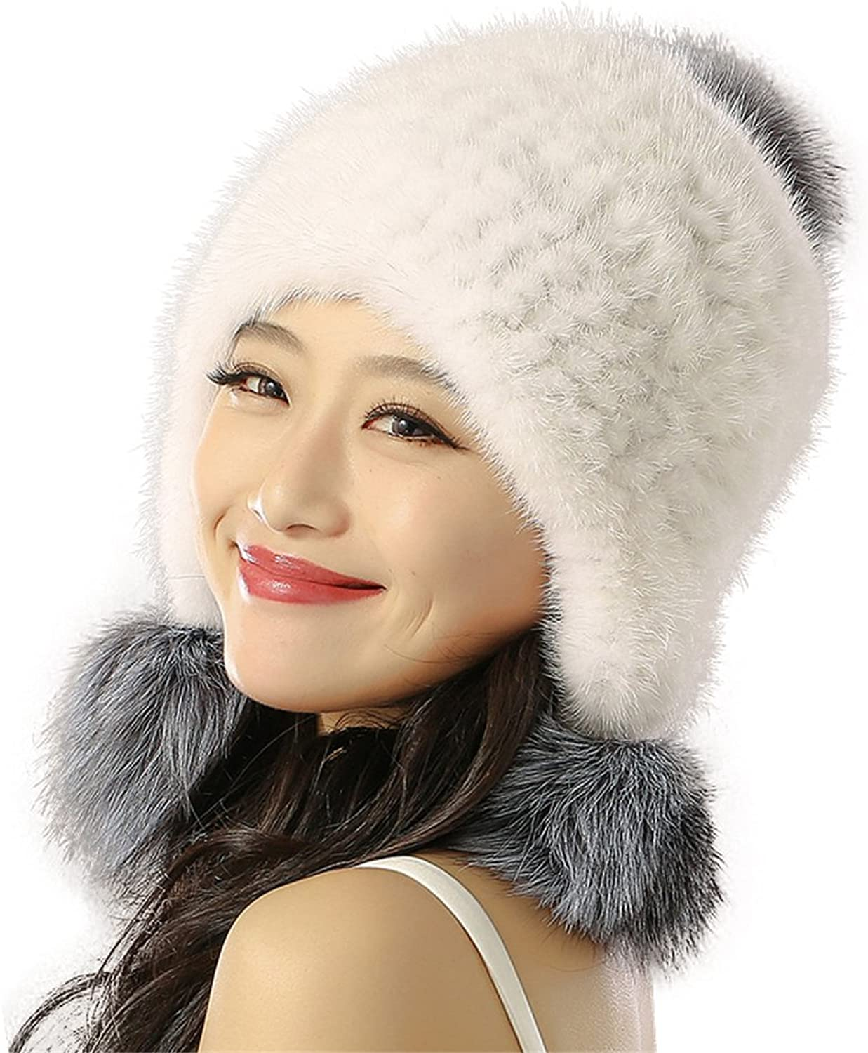 ETHEL ANDERSON Real Knitting Mink Fur Hat with Fox Fur Ball Beanies Bobble Hat for Women