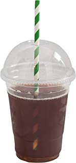[200 SETS] Plastic Disposable Cups with Dome Lids - Premium 16 oz (ounces) Crystal Clear PET Cold Drinks Iced Coffee Tea Juices Smoothies Slush Soda Cocktails Beer Kids Safe (16oz Cups + Domed Lids)