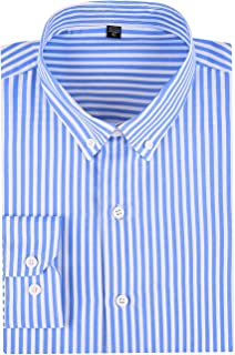 SOKKIA Men's Casual Business Vertical Striped Sleeved Button Up Dress Shirt