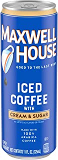 Maxwell House Ready-to-Drink Iced Coffee with Cream & Sugar (11 oz Cans, Pack of 12)