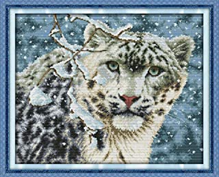Adult Diamond Painting Kit DIY Cross Stitch Set Forest Snow Leopard Print Pattern Cross Stitch Home Window Decoration