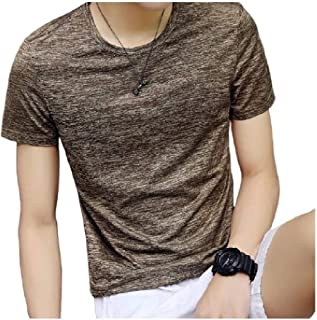 Howely Men's Casual Stretchy Crew Neck Short Sleeve Pure Color Tunic Tshirt Tops
