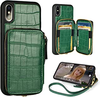 iPhone Xs iPhone X Wallet Case 5.8 inch ZVE iPhone Xs/x Case with Credit Card Holder Slot Handbag Purse Wrist Strap Zipper Case for Apple iPhone x 5.8 inch -Crocodile Skin Pattern Green