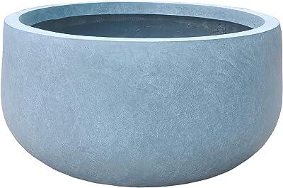 Kante RC0051B-C60611 Lightweight Concrete Outdoor Round Bowl Planter, Slate Gray