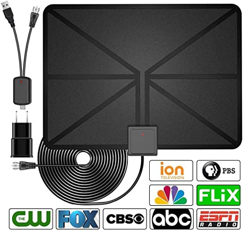[2020 Latest] HDTV Antenna Indoor Digital TV Antenna, 60 Miles Range with Amplified Signal Booster Support 4K 1080P Freeview Channels - 13.2Ft Coaxial Cable and Power Adapter product image