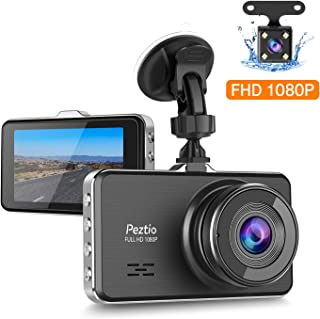 Peztio Dual Dash Cam Front and Rear, FHD 1080P Dash Camera for Cars, Car Dash Camera Recorder Upgraded Version Night Vision, 3 Inch IPS Screen, 170 Super Wide Angle, G Sensor, Parking Monitor, WDR