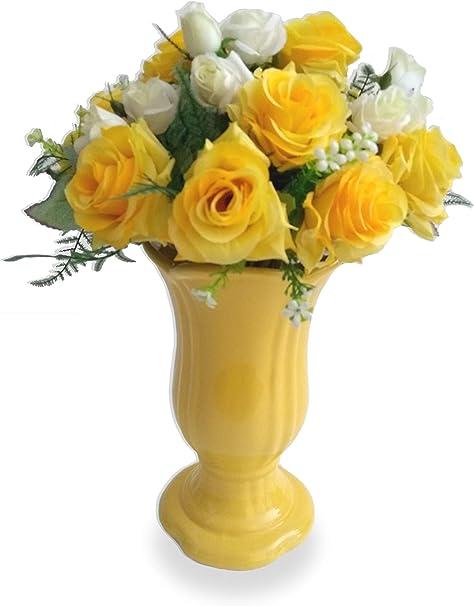 Rosa Amarela De Luxo Casamento Arranjo Flor Artificial Com Vaso Amarelo Em  Cerâmica | Amazon.com.br