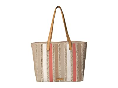 Vera Bradley Fringed Tote (Neutral Stripe) Handbags