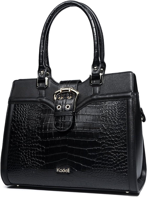 Kadell Women's Leather Designer Handbags Shoulder Bag Satchel for Office Ladies