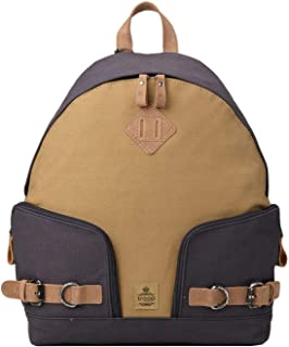 TRP0433 Troop London Heritage Canvas Leather Backpack, Canvas Leather Smart Casual Daypack, Tablet Friendly Backpack (Navy...