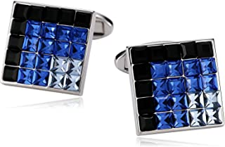 Stainless Steel Mens Cufflinks, Square Crystal Cufflinks for Men Tuxedo Shirt with Gift Box