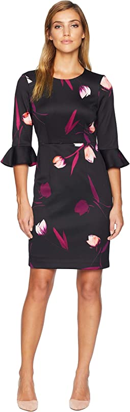 Printed Scuba 3/4 Ruffle Sleeve Dress