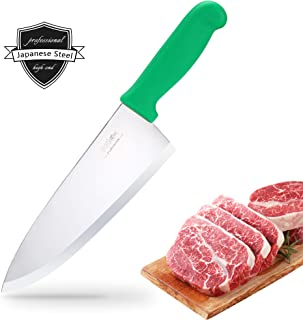 BOLEX 8 inch Japanese High Carbon Stainless Steel Chef Knife, Professional Extra Sharp Wide Cook Knife with Green Non-slip Ergonomic Handle, Multi-Purpose Hand Forged Knife for Kitchen Home Restaurant