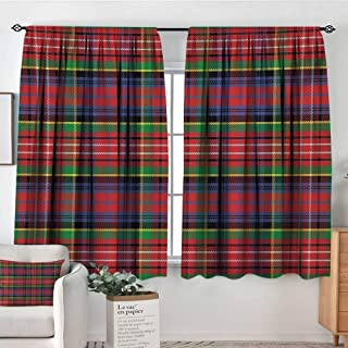 Mozenou Plaid Waterproof Window Curtain Caledonia Scottish Traditional Pattern Tartan Motif Abstract Squares Ornate Quilt Bedroom Blackout Curtains 72