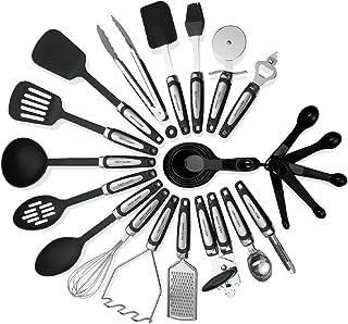 مجموعة أواني المطبخ 26 قطعة - ملاعق طبخ من الفولاذ المقاوم للصدأ والنايلون وأدوات الطبخ ، دوارة، وألباطاق، ومباطق، وقطع ال...