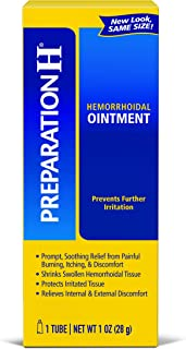 Preparation H (2.0 Ounce, 1 Tube per Box) Hemorrhoid Symptom Treatment Ointment, Itching, Burning & Discomfort Relief, Tube, (Pack of 2)