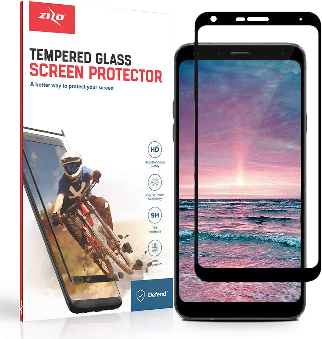 Screen Protector with Anti Scratch with 9H Hardness LG Q7 Plus Black Zizo Full Glue Curved Glass Compatible with LG Q7