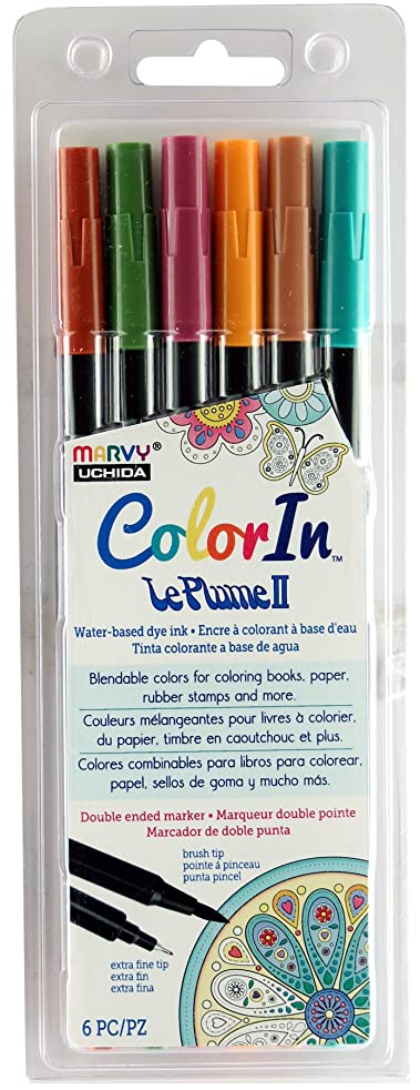 UCHIDA ColorIn, 6 Piece, LePlume II Book Pens, Natural Colors