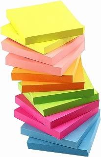 付箋 強粘着 ブロックメモ 文房具 便利 メモ用紙 ネオンカラー 75×75mm 100枚/冊 12冊/パック 業務用セット
