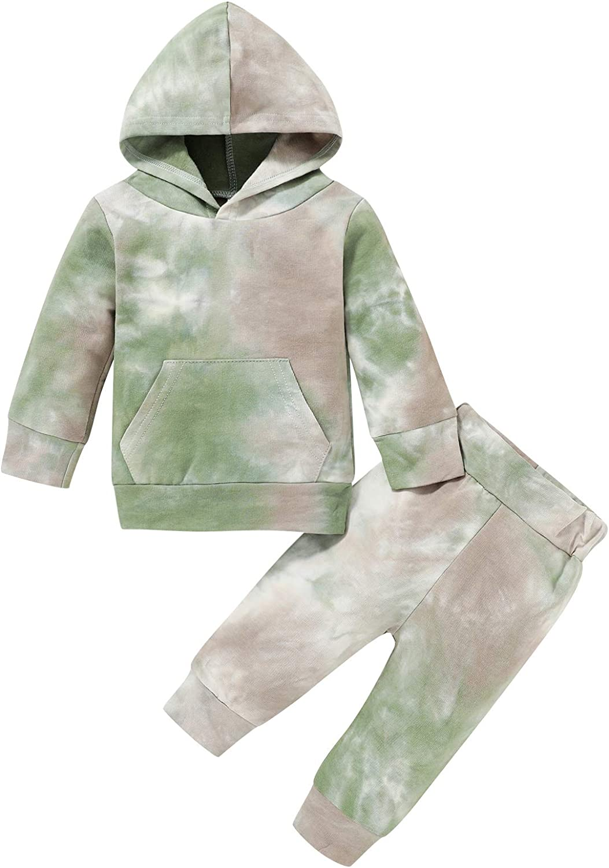 Newborn Infant Baby Boy Girl Clothes Long Sleeve Tie-dye Pocket Hoodie Sweatshirt Pant Set 2pcs Outfit Set
