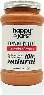 Happy Jars 100% Natural Unsweetened Creamy Peanut Butter | Smooth Consistency | Gluten-Free | Vegan | No Oil | No Sugar | ...