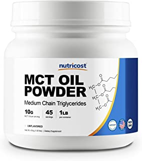 Nutricost MCT Oil Powder 1LB (16oz) - Great for Keto, Ketosis and Ketogenic Diets - Zero Net Carbs - Made in The USA, Non-GMO + Gluten Free (Medium Chain Triglyceride)