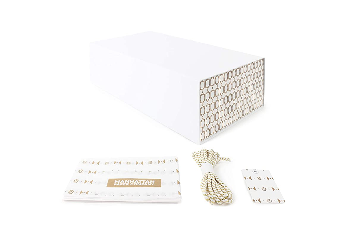 White and Gold Gift Box for Any Special Occasion | Gift Box Size: 12 x 7 x 4 inches (Gold Graphic)