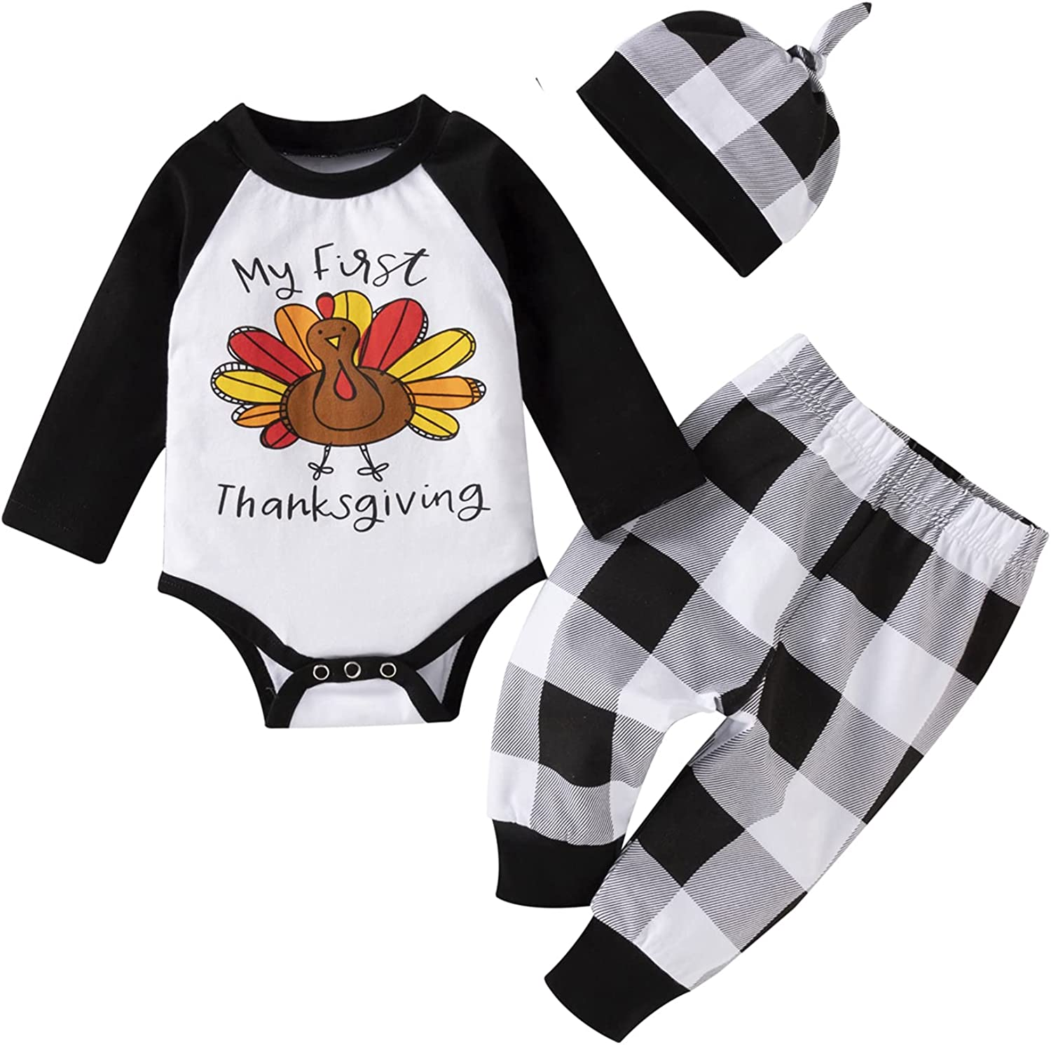 Thanksgiving Day Baby Boy Clothes Baby Boy'S First Thanksgiving Long Sleeve Romper Pumpkin Turkey Print+Pants+Hat 0-18 Months