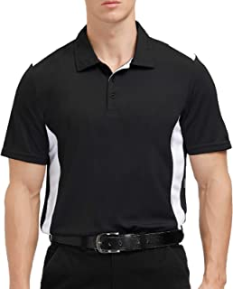Sports Polo Shirts for Men Big and Tall Short Sleeve Side Blocked Performance Golf Polo