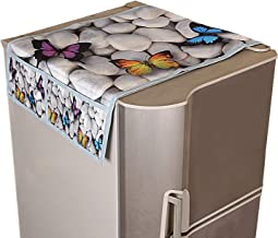 Kuber Industries Butterfly Design Jute Refrigerator Top Cover with Four Pocket - Ivory