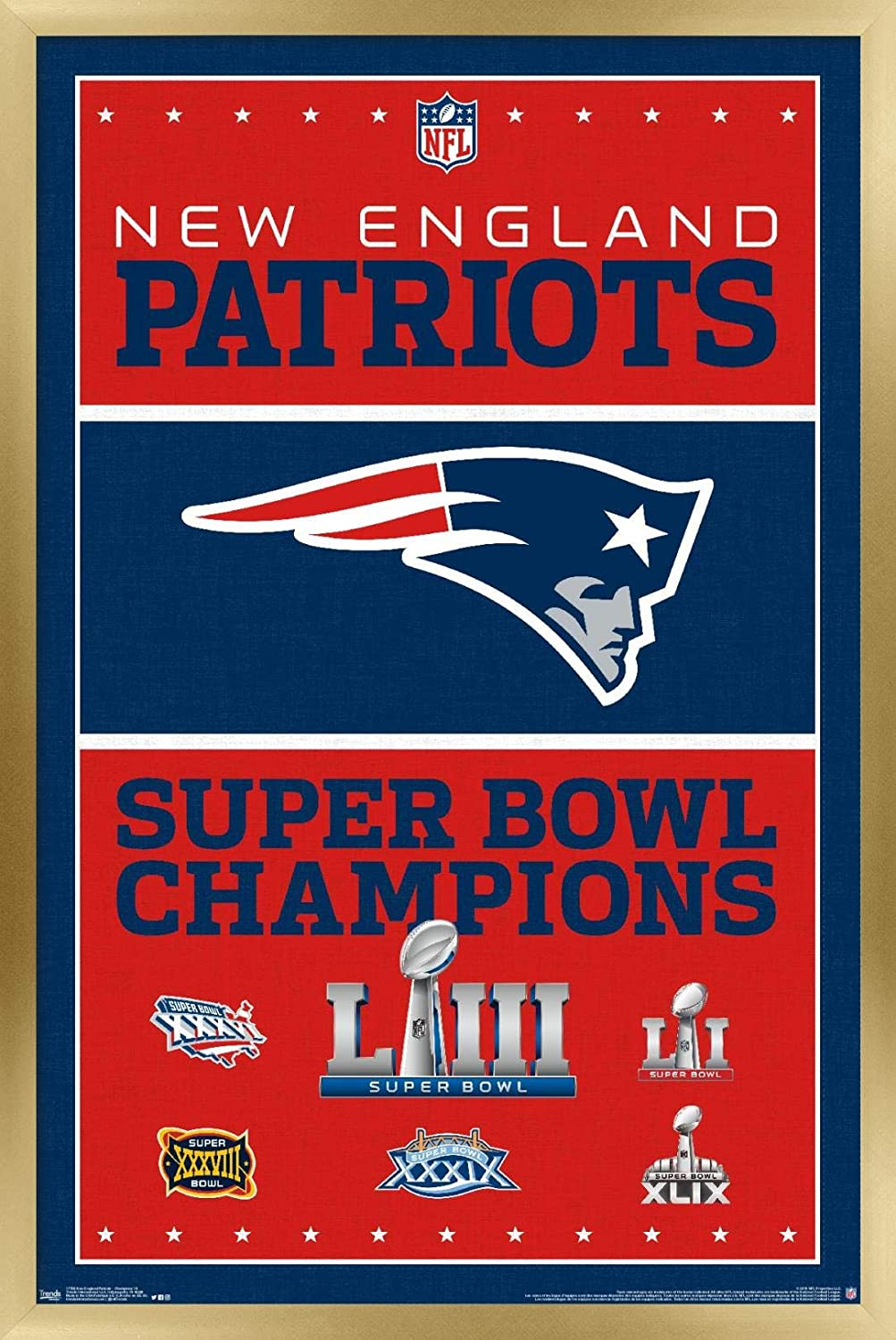 Trends International NFL New England Patriots - Champions 19 Wall Poster, 14.725