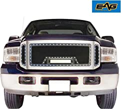 EAG Rivet Black Stainless Steel Wire Mesh Grille With LED Light Fit for 05-07 Ford Super Duty F250/F350