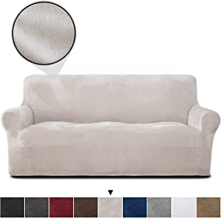 RHF Velvet-Sofa Slipcover, Stretch Couch Covers for 3 Cushion Couch-Couch Covers for Sofa-Sofa Covers for Living Room,Couch Covers for Dogs, Sofa Slipcover,Couch slipcover(Beige-Sofa)