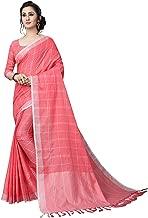Checks Cotton Linen Saree with Stitched Blouse