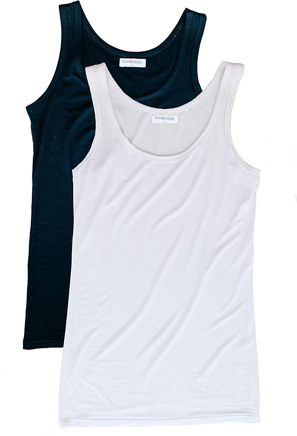 bluee & Butter Women's Fitted Modal Tank Top 2Pack (Black White)   Soft Basic Long Tank Top Perfect for Travel Yoga Everyday