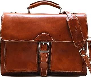 Floto Novella Roller Buckle Briefcase Messenger Bag in Full Grain Leather (Olive (Honey) Brown)