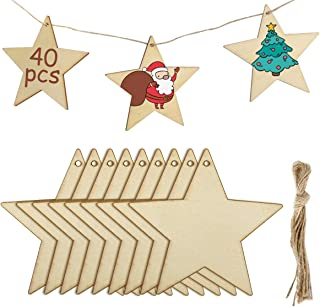 MELLIEX 40 Pieces Wooden Hanging Stars for Christmas Ornaments, DIY Unfinished Wood Crafts Cutouts with 40 Twines for Xmas Tree Hanging Ornaments Gift Tag