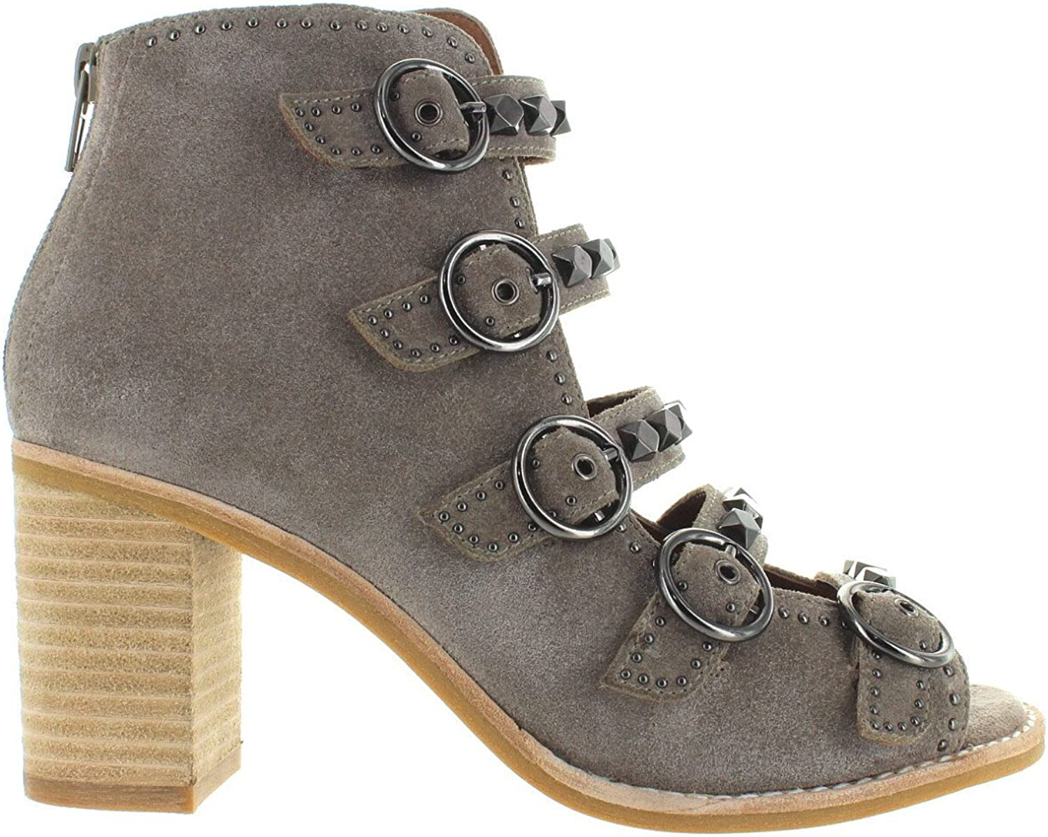 Jeffrey Campbell Bess - Taupe Suede Studded Strappy Sandal Bootie