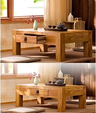 Solid Wood Coffee Table Living Room Low Table Coffee Table with Drawer Home Low Table Work Table (Color : A, Size : 50x40x30c