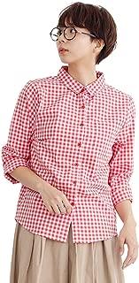 (メルロー) merlot ギンガムチェック柄コットンシャツ