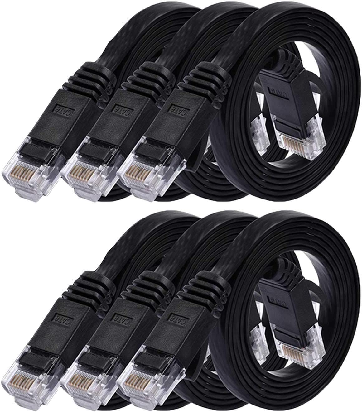 Cat 6 Ethernet Cable 3ft (6 Pack) (at a Cat5e Price but Higher Bandwidth) Flat Internet Network Cable - Cat6 Ethernet Patch Cable Short - Black Computer Cable with Snagless RJ45 Connectors
