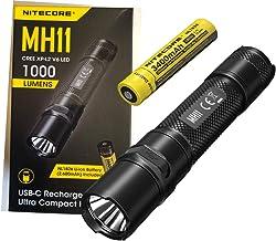 Nitecore Lanterna recarregável USB-C MH11 – 1000 lúmens, bateria recarregável e cabo de carregamento USB Eco-Sensa Tipo-C ...