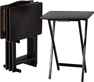 AmazonBasics Classic TV Dinner / Snack 4 Table Set with Holder - Black