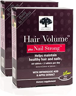New Nordic Hair Volume w/Nail Strong, 60 Tablets, Pack of 2