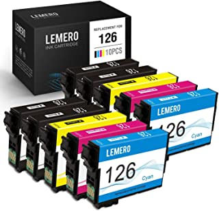 LEMERO Remanufactured Ink Cartridges Replacement for Epson 126 T126 to use with Workforce 545 845 630 645 840 633 635 520 WF-3520 WF-3540 Stylus NX430, 10 Pack